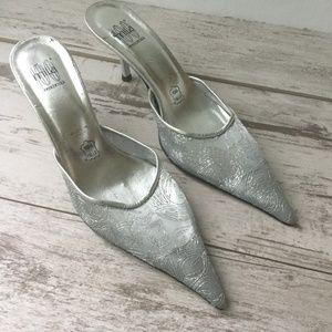 Vintage Pointy Toe Silver Slides Cinderella
